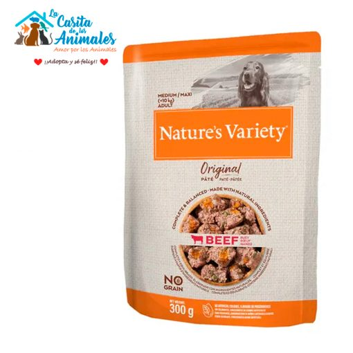 comida húmeda natures variety original pate perros medium/maxi buey