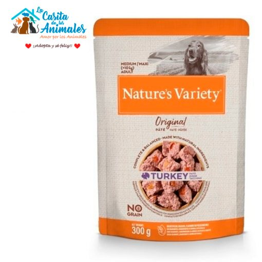 comida húmeda natures variety original pate perros medium/maxi pavo